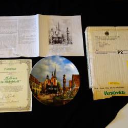 Баварски порцелан рисувана чиния, сертификат.