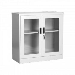 Метален шкаф две плъзгащи метални врати със стъкла