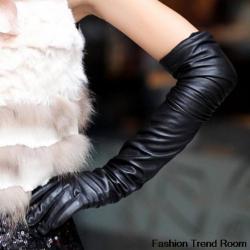Дълги дамски кожени ръкавици