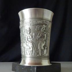 Гравирана чаша, халба от калай Bmf.