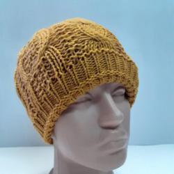 Дамска плетена шапка горчица-05