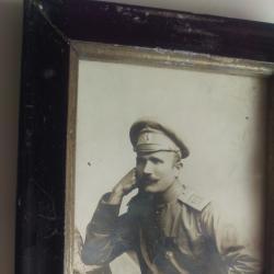 Снимка 1915 г. с автограф, в рамка 14,7 х 9,9 см
